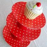 espositore cupcake pois