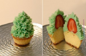 Cupcake albero di natale con fragola e crema di burro