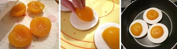 Uova pasta frolla e albicocche sciroppate